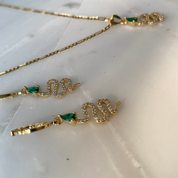 For Your Love Emerald Snake Necklace-Au+ORA