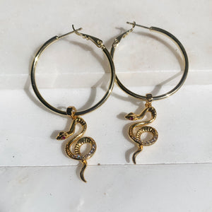 Serpent ♱ Hoops - 18K Gold Filled Snake Earrings-Au+ORA