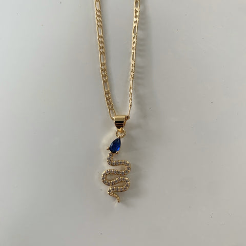 For Your Love Azul Snake Necklace-Au+ORA