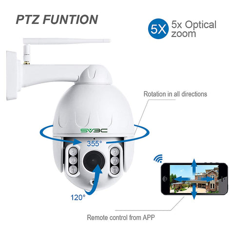 SV3C PTZ WiFi Camera Outdoor, 1080p Wireless Security IP Camera, Pan Tilt 5X Optical Zoom, Two Way Audio, 196ft Night Vision, Waterproof Surveillance CCTV, Motion Detection Alarm, Support Max 128GB SD