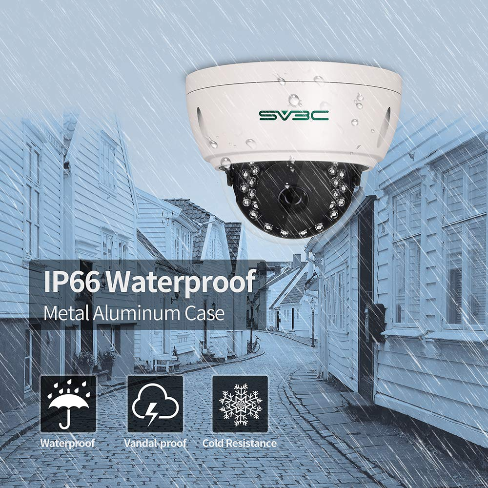 SV3C IP POE Security Camera,5 Megapixels 2592x1944P Indoor Outdoor Surveillance Camera,Pro-HD Night Vision Dome Camera with 24pcs IR,IP66 Waterproof,H.265 ONVIF,Motion Detection