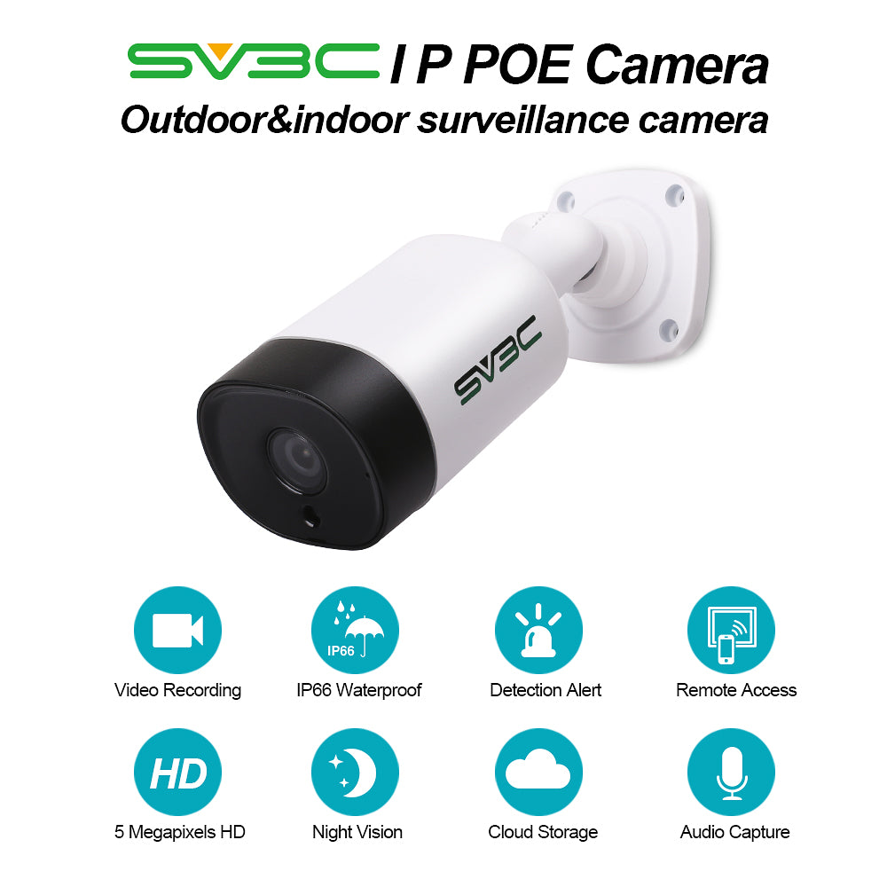 IP POE Camera, SV3C 5 Megapixels HD Security IP Camera Outdoor Indoor Video  Surveillance, Outdoor POE Camera System Support Onvif, IR Night Vision,