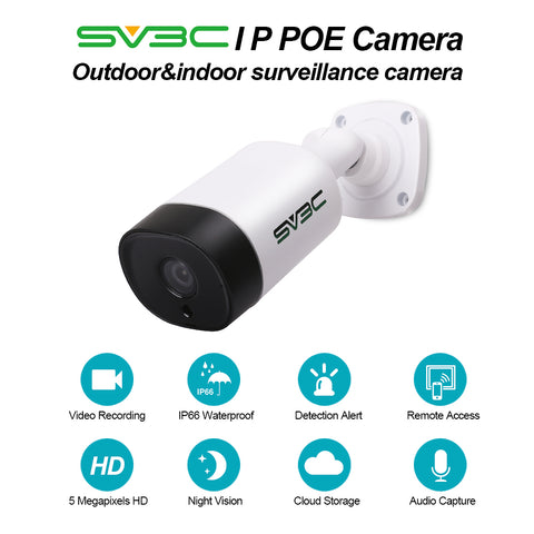 IP POE Camera, SV3C 5 Megapixels HD Security IP Camera Outdoor Indoor Video Surveillance, Outdoor POE Camera System Support Onvif, IR Night Vision, Motion Detection, Waterproof, Remote Viewed