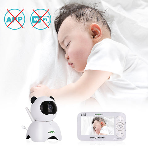 "Baby Monitor,SV3C 720P Video Baby Monitor with Camera and Audio, 5"" LCD HD Screen Night Vision, Pan/Tilt/Zoom Camera,Two-Way-Talk,Temperature Monitor,Sound Detection,Lullabies,Range up to 900ft"