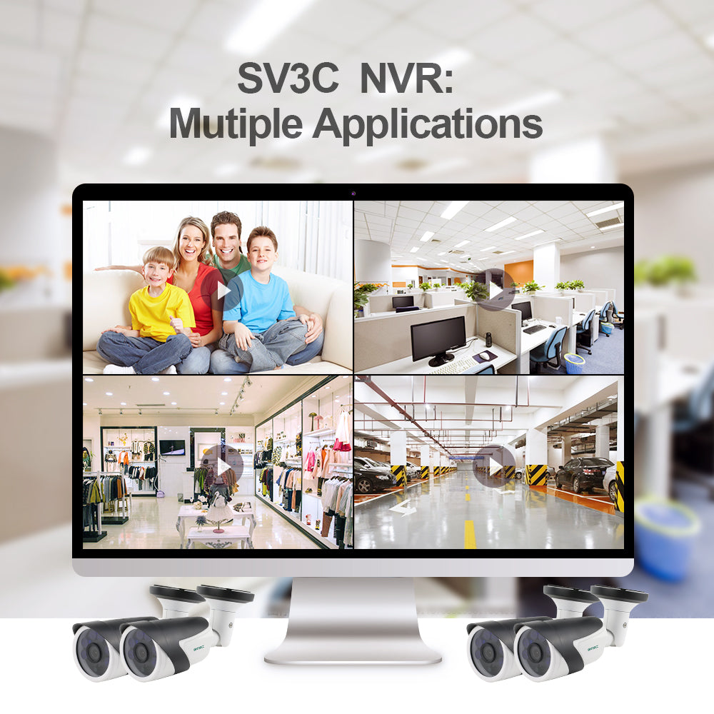 SV3C Plug and play cctv system kit 8 channels 8ch nvr system support poe nvr kit surveillance