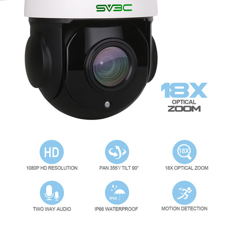 Image of SV3C 1080P WiFi PTZ Security Camera Outdoor, Pan Tilt with 18X Optical Zoom, Wireless IP Dome Surveillance CCTV Camera, 196ft IR Night Vision, Two-Way Audio, IP66 Waterproof, Built-in Sd Slot