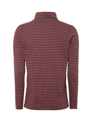 Striped Long Sleeve Turtleneck - Burgundy / Antra