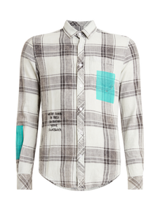 Checked Color Block Shirt - Off White / Sand