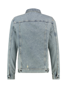 Distressed Denim Bad Influence Jacket - Blue