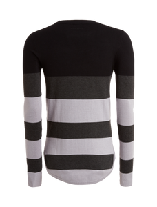 Knitted Striped Crewneck - Black / Antra / Grey