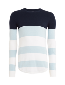 Knitted Striped Crewneck - Light Blue / White / Navy