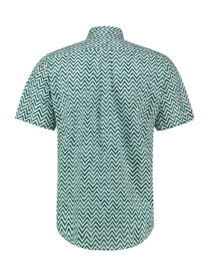 Zigzag Leafs Shirt Green - White