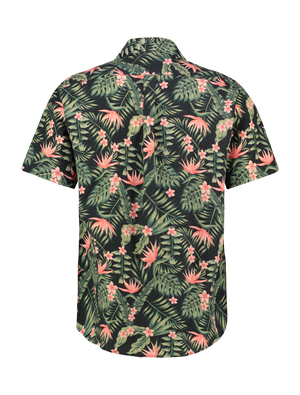 Jungle Flowers Shirt - Black / Coral