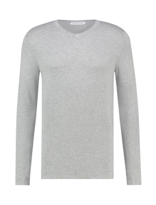 Knitted Long Sleeve V-neck - Grey