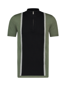 Knitted Half Zip Polo - Green / Black