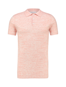 Knitted Melange Polo - Coral