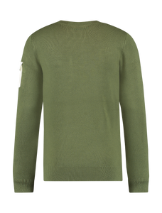 Knitted Utility Crewneck - Green / White