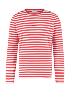 Striped Logo Long Sleeve T-shirt - Red White