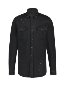 Painted Denim Shirt - Black