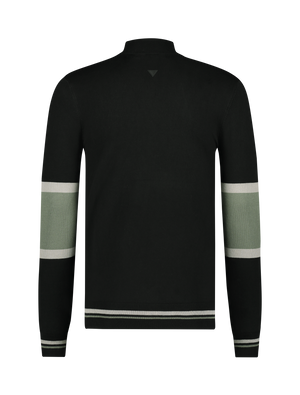 Knitted Mockneck Sweater - Black / Army Green
