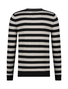 Knitted Striped Sweater - Black / Grey