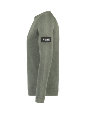 Garment Dye Knitted Sweater - Army Green