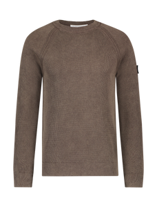 Garment Dye Knitted Sweater - Brown