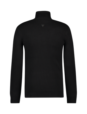Knitted Pocket Turtleneck Sweater - Black