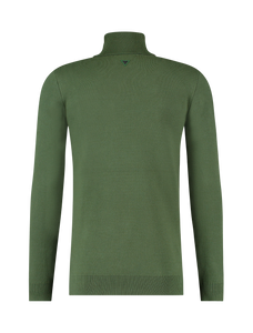Knitted Pocket Turtleneck Sweater - Army Green