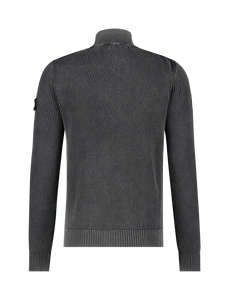 Jacquard Knitted Turtleneck Sweater - Black