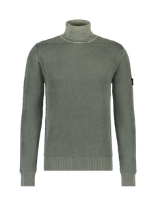 Jacquard Knitted Turtleneck Sweater - Army Green