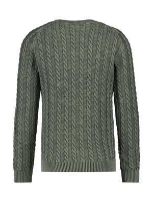 Cable Knitted Sweater - Army Green