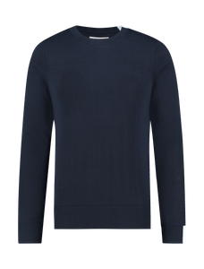 Round Collared Knitted Sweater - Navy