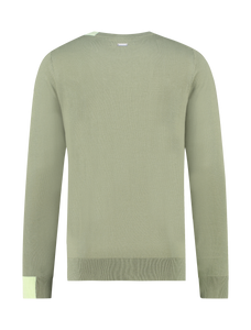 Round Collared Knitted Sweater - Army