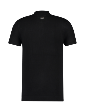 Knitted Half Zip T-shirt - Black