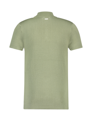 Knitted Half Zip T-shirt - Army