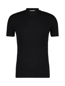 Knitted Mockneck T-shirt - Black