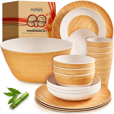 Bamboo Dinnerware Sets for 4 – Great Quality & Durable w/Beautiful Bamboo Dishes Plates Decal – Cups, Plates and Bowls Set – 17 Piece Reusable & Dishwasher Safe Wood Dish Set