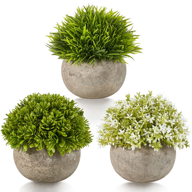 Artificial Plastic Mini Plants Unique Fake Fresh Green Grass Flower in Grey Pot for Home Décor – Set of 3 (White & Green, Faux Concrete Pot)…