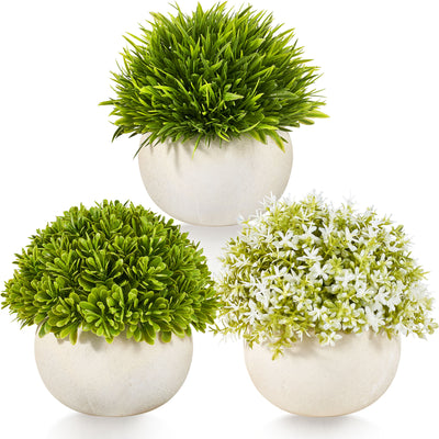Potted Artificial Plants for Office and Home, Set of 3 – Green and White Realistic Small Fake Plants – Pet- and Kid-Safe PE Plastic Decor Plants with Concrete Pots Home, 5.5x4.7 in.…