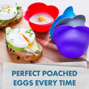 Silicone Egg Poaching Cups - Poaches Eggs To Perfection Without the Stress or Mess - Set of 4 Nonstick Pods for Easy Release and Cleaning - BPA Free, Microwave, Stove Top and Dishwasher Safe