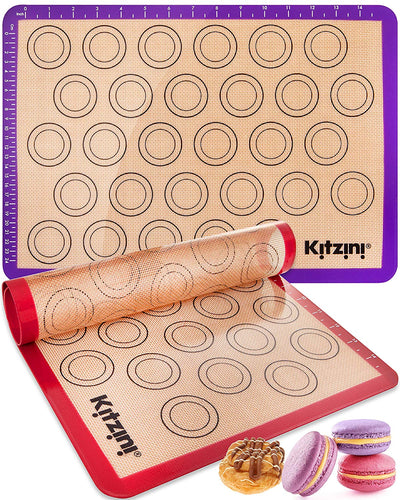 Macaron Silicone Mat for Baking - Two Half Non Stick Sheet Mats - Perfect Bakeware for Making Cookies Macaroons, Bread and Pastry