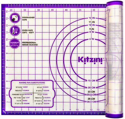 Pastry Mat Silicone Non Slip – Large Thick Non Stick Silicone Baking Mat For Rolling Dough, Pie Crust, Fondant, Pizza and Cookies – Heavy Duty Easy to Clean Kneading Mat With Measurements - Purple