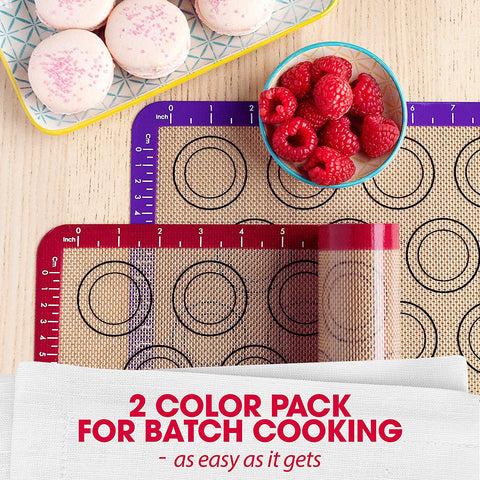 Macaron Silicone Mat for Baking - Two Half Non Stick Sheet Mats - Large BPA Free Professional Grade Liner Sheets - Perfect Bakeware for Making Cookies Macaroons, Bread and Pastry