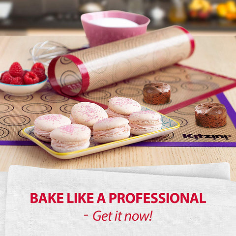 Two Half Non Stick Sheet Mat Silicone Baking Mats Set of 2 Bread and Pastry Perfect Bakeware for Making Cookies Macarons Large BPA Free Professional Grade Liner Sheets 2 Pack