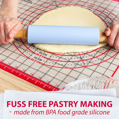Pastry Mat Silicone Non Slip – Large Thick Non Stick Silicone Baking Mat For Rolling Dough, Pie Crust, Fondant, Pizza and Cookies – Heavy Duty Easy to Clean Kneading Mat With Measurements
