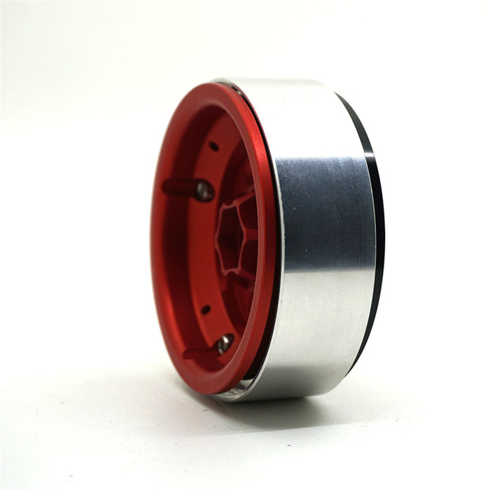 OMF style 6 hole 2.2 alloy bead lock wheels | Red + Black