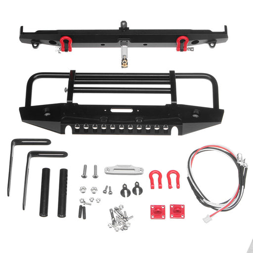 Metal Aluminum Front+Rear Bumper with LED For TRAXXAS Trx-4 TRX4 RC Crawler