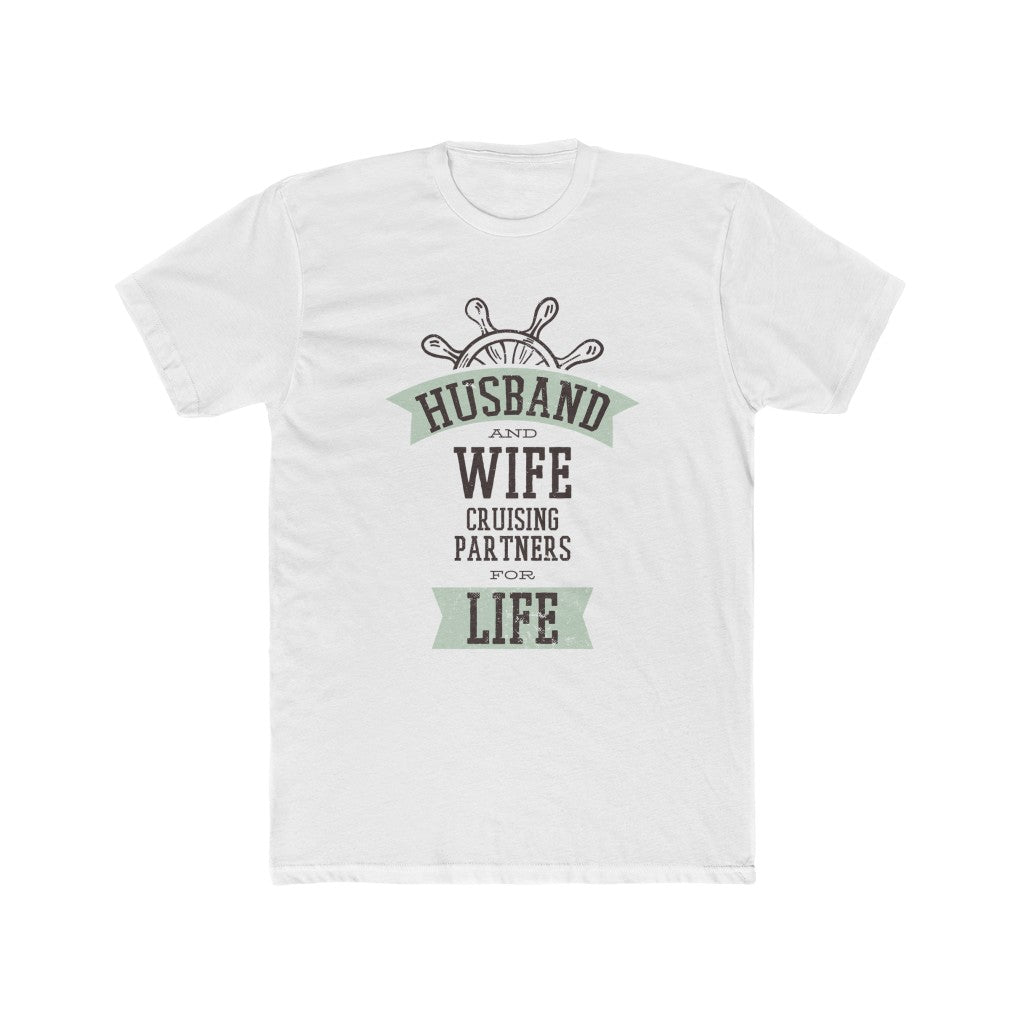 Husband And Wife Cruising Partners Men's Cotton Crew Tee