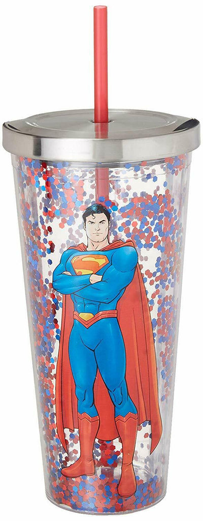Spoontiques 21304 Superman Glitter Cup With Straw, 20 ounces, Multicolor